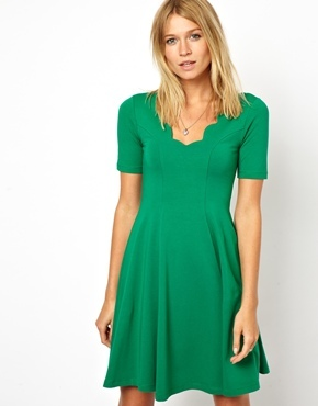 Asos Skater Dress With Scallop Detail - Green