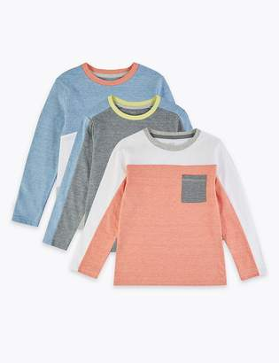 Marks and Spencer 3 Pack Cotton Rich Colour Block Tops (2-7 Years)
