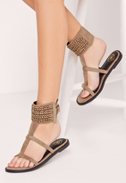 Missguided Woven Chain Ankle Cuff Flat Sandal Nude