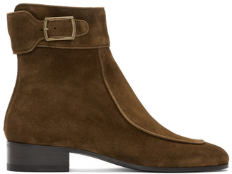 Saint Laurent Brown Suede Miles Buckled Boots