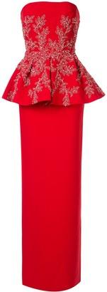 Saiid Kobeisy Peplum Strapless Maxi Dress