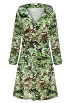 Ours Women's Packable Button Down Waterproof Trench Rain Jacket Outdoor Rain Coat with Hood (XXXL, )