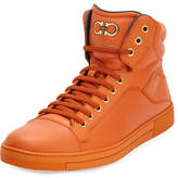 Salvatore Ferragamo Calfskin High-Top Sneaker, Orange