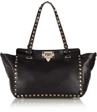 Valentino Garavani The Rockstud Small Leather Trapeze Bag - Black