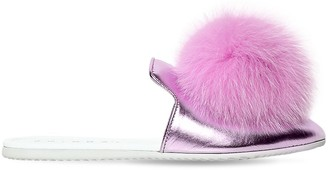 Joshua Sanders Metallic Leather Mules W/ Fox Pompoms