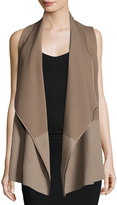 Lafayette 148 New York Asymmetric Ribbed Cardigan Vest, Nutmeg