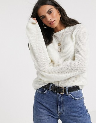 Vila balloon sleeve rib knitted jumper in white