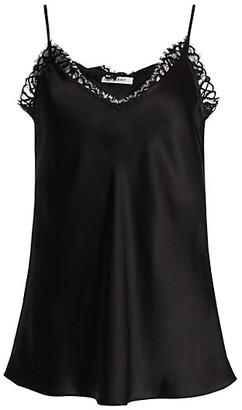 Frame Lace-Trim Silk Camisole Top