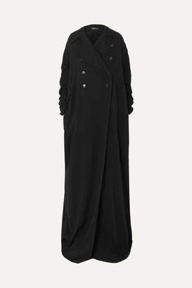 Ann Demeulemeester Ruched Double-breasted Crepe Coat - Black