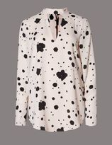 Marks and Spencer Long Sleeve Ink Spotted Shirt