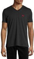 Burberry Lindon Cotton V-Neck T-Shirt, Black