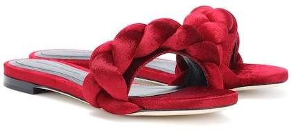 Marco De Vincenzo Braided velvet slides