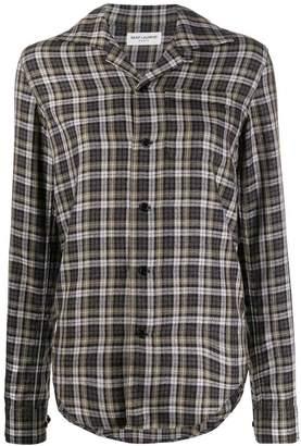 Saint Laurent long-sleeved checkered shirt