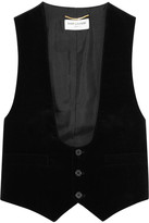Saint Laurent Velvet And Cotton-twill Vest - Black