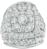 Zales 10 CT. T.W. Composite Diamond Double Cushion Frame Multi-Row Engagement Ring in 14K White Gold