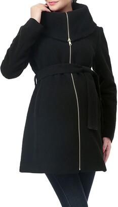 Kimi and Kai Mia High Collar Wool Blend Maternity Coat