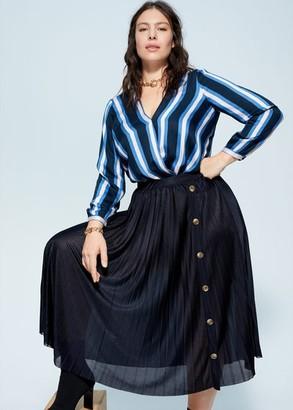 MANGO Violeta BY Pleated buttons skirt dark navy - S - Plus sizes