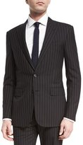 Ralph Lauren Anthony Wide-Pinstripe Wool Suit, Medium Gray