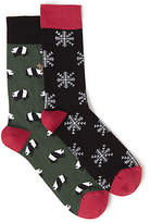 John Lewis Snow Flake and Panda Socks, One Size, Pack of 2, Black/Green