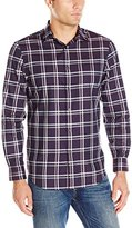 Perry Ellis Men's Regular Fit Windowpane Pattern Shirt