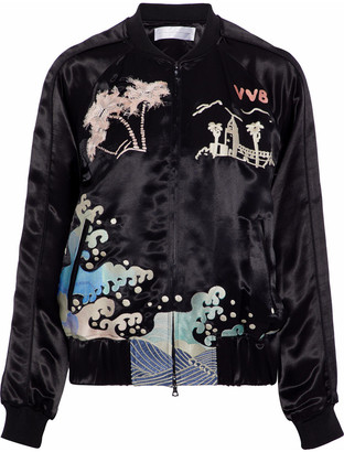 Victoria Victoria Beckham Embroidered Satin Bomber Jacket