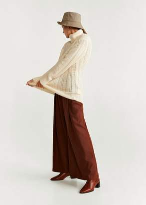 MANGO Turtleneck ribbed sweater ecru - XS - Women