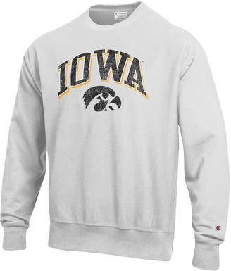 Champion Men's Gray Iowa Hawkeyes Arch Over Logo Reverse Weave Pullover Sweatshirt