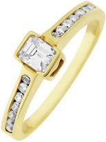 Love DIAMOND 9ct Gold 50 Point total Emerald Cut Diamond Ring With Stone Set Shoulders