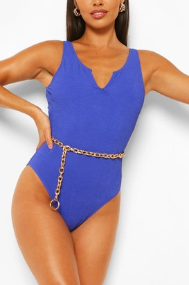 boohoo Petite Crinkle Scoop Neck bathing suit