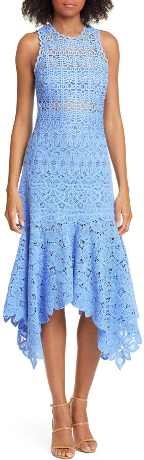 Jonathan Simkhai Handkerchief Hem Crochet Lace Midi Dress