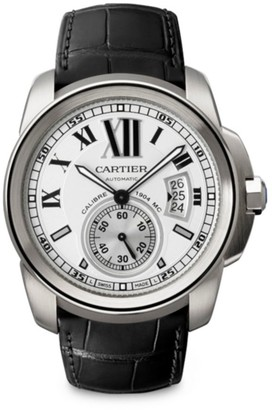 Cartier Calibre de Stainless Steel & Black Alligator-Strap Watch/42MM