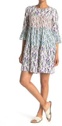 Gabby Skye Floral Bell Sleeve Trapeze Mini Dress