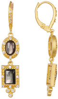 Freida Rothman Harlequin Grey Mother of Pearl & CZ Drop Earrings