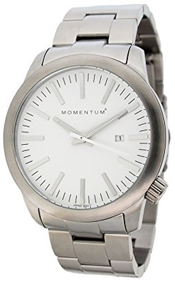 Momentum Mens Quartz Watch | Logic 42 by | Stainless Steel Watches for Men | Sports Watch with Japanese Movement & Analog Display | Water Resistant watch with Date White / Steel