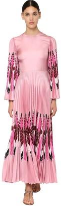 Valentino Printed Silk Twill Long Dress
