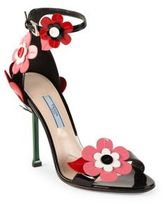Prada Floral-Embroidered Patent Leather Ankle-Strap Sandals