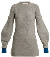 Toga Round-neck contrast-cuff ribbed-knit wool sweater
