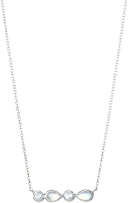 Anzie Classique Sterling Silver, White Topaz & Rainbow Moonstone Bar Necklace
