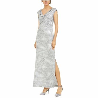 Connected Apparel Womens Silver Heather Sleeveless Cowl Neck Maxi Sheath Evening Dress UK Size:16