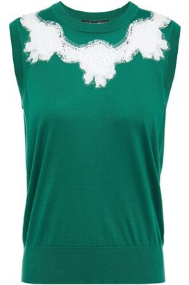 Dolce & Gabbana Corded Lace-trimmed Silk-blend Top