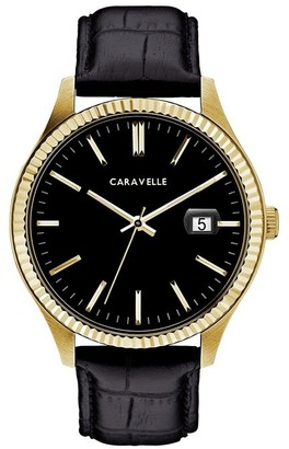 Caravelle Designed by Bulova Men's 44B118 Gold-Tone Stainless Black Leather Strap Watch