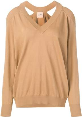 Nude cold shoulder jumper