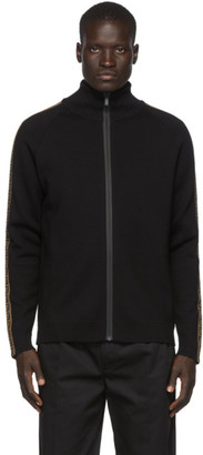 Fendi Black Forever Tape Zip-Up Sweater