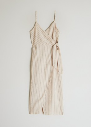 NEED Women's Jewel Striped Dress in Taupe, Size Small | 100% Cotton