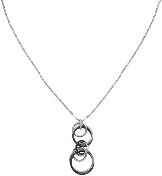Italian Silver Two-Tone Interlocking Circles Pendant w/ Chain