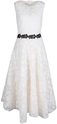 Giambattista Valli White Floral Applique Embroidered Sleeveless Dress M