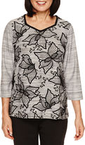 Alfred Dunner Wrap It Up 3/4 Sleeve Flocked Floral Top