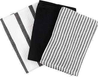 Scullery Pura Tea Towel Set of 3 Black