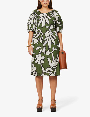 S Max Mara Didone graphic floral-print cotton midi dress