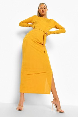 boohoo Tall Rib Long Sleeve Belted Midaxi Dress